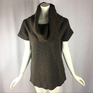 GAP Cowl Neck Brown Long Sweater Short Sleeves